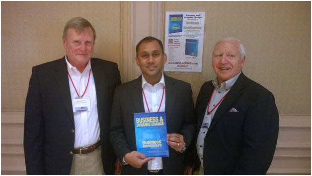 Three featured authors in the book pose at the recent BPM and Case Management Summit in Washington DC. From left to right, Frank Kowalkowski, President of Knowledge Consultants, Jude Pereira, Managing Director of IYCON, Dubai and Gil Laware President of Information By Design.